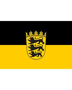 Fahne: Flagge: Landesdienstflagge Baden-Württembergs mit kleinem Landeswappen