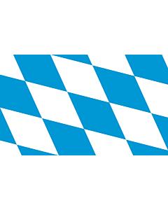 Fahne: Flagge: Die Rautenflagge des Freistaates Bayern seit 1971. Das Seitenverhältnis ist nicht vorgegeben