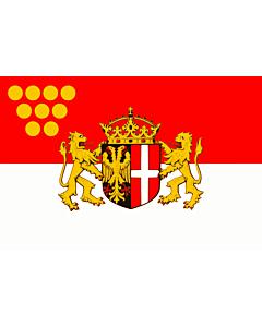 Fahne: Flagge: Das Wappen der Stadt Neuss zeigt auf einem von Schwarz und Rot gespaltenen Schild im schwarzen  linken  Feld einen rot bewehrten