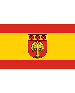 Fahne: Flagge: Beschreibung der Flagge  Die Flagge ist von Rot zu Gelb zu Rot im Verhältnis 1 3 1 längsgestreift mit dem Wappenschild der Stadt in der Mitte