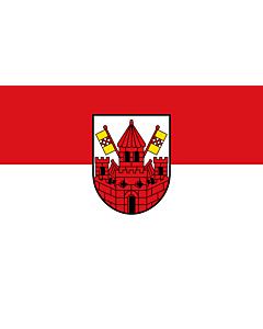 Fahne: Flagge: Kreisstadt UnnaBeschreibung des Wappens  In Silber  Weiß  eine rote Stadtbefestigung