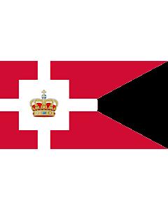 Fahne: Flagge: Standard of the Royal House of Denmark   Kongehusflaget  bruges af alle medlemmer af den kongelige familie