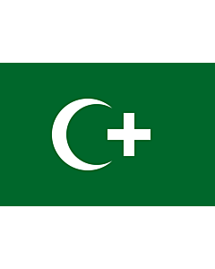 Fahne: Flagge: Revolution flag of Egypt 1919 | The revolution flag of Egypt from 1919. It bears a crescent and cross to demonstrate that both Muslims and Christians supported the Egyptian nationalist movement against British occupation