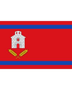Fahne: Flagge: Chalamera | Chalamera-Huesca-Spain | Chalamera-Huesca Paño rojo de proporción 2/3, con dos franjas horizontales