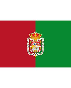 Fahne: Flagge: Granada2 | City of Granada  Spain | La ville de Grenade est formé de deux bandes verticales d égale largeur la première | Ciudad de Granada  España  Bandera es de color carmesí y verde