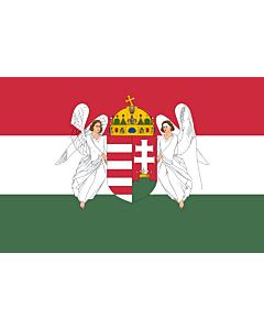 Fahne: Flagge: Hungary  1867-1918 | A variant of the flag of the Kingdom of Hungary used between 6 November 1915 to 29 November 1918 | A Magyar Királyság 1915. november 6. és 1918. november 29. között használt zászlajának egyik változata