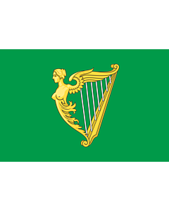 Fahne: Flagge: Green harp flag of Ireland | A traditional green harp flag of Ireland with a slightly different harp from File Arms of Ireland  Historical
