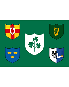 Fahne: Flagge: IRFU | IRFU flag first made public in 1925, comprised of the traditional four provinces of Ireland shields and other older elements