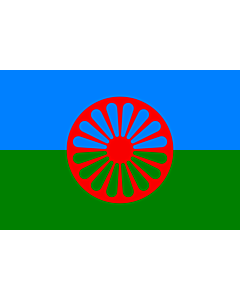 Fahne: Flagge: Romani people   Romani people, made using these dimensions