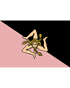 Fahne: Flagge: Sicily  pink and black   Sicilian flag - Pink and black version  featuring US Città di Palermo colours