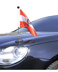 magnetisch haftender Autofahnen-Ständer Diplomat-1.30 Österreich mit Dienst-Wappen