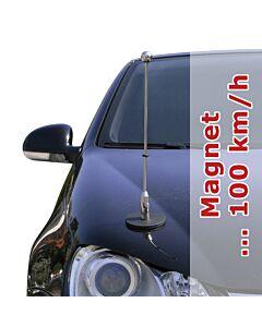 magnetisch haftender Autofahnen-Ständer Diplomat-1-Chrome