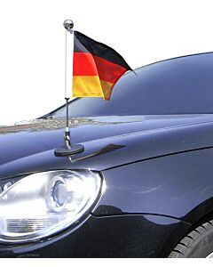 magnetisch haftender Autofahnen-Ständer Diplomat-1.30-Chrome Deutschland