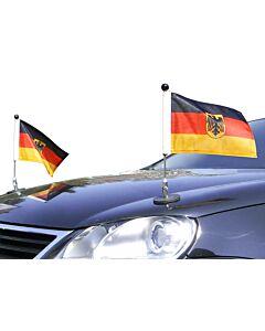 Paar  magnetisch haftender Autofahnen-Ständer Diplomat-1.30 Deutschland mit Dienst-Wappen