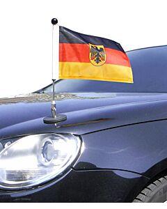 magnetisch haftender Autofahnen-Ständer Diplomat-1.30 Deutschland mit Dienst-Wappen